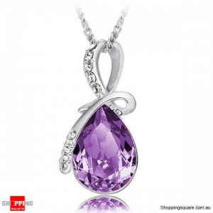 Women's Water Drop Rhinestone Crystal Pendant Necklace Silver & Purple Colour