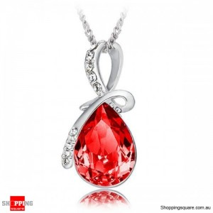 Women's Water Drop Rhinestone Crystal Pendant Necklace Silver & Red Colour
