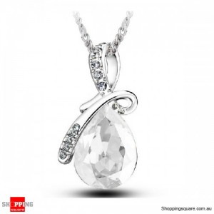 Women's Water Drop Rhinestone Crystal Pendant Necklace Silver & White Colour