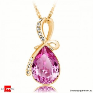 Women's Water Drop Rhinestone Crystal Pendant Necklace Gold & Rose Red Colour