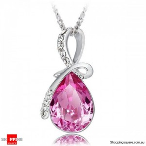 Women's Water Drop Rhinestone Crystal Pendant Necklace Silver & Rose Red Colour