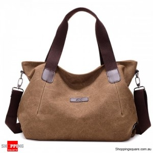 Durable Canvas Big Capacity Shoulder Bags Simple Crossbody Bags - Brown Colour