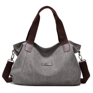 Durable Canvas Big Capacity Shoulder Bags Simple Crossbody Bags - Grey Colour