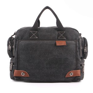 Men's Casual Retro Canvas Multifunctional 14 inch Laptop Crossbody Handbag Bag Black Colour