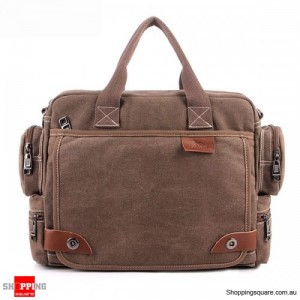 Men's Casual Retro Canvas Multifunctional 14 inch Laptop Crossbody Handbag Bag Coffee Colour