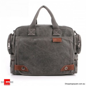 Men's Casual Retro Canvas Multifunctional 14 inch Laptop Crossbody Handbag Bag Gray Colour