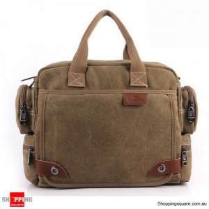 Men's Casual Retro Canvas Multifunctional 14 inch Laptop Crossbody Handbag Bag Khaki Colour