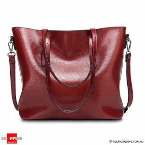 Women's Vintage Oil Leather Tote Handbag Shoulder Crossbody Bag with Big Large Capacity for Shopping Burgundy Colour