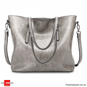Women's Vintage Oil Leather Tote Handbag Shoulder Crossbody Bag with Big Large Capacity for Shopping Gray Colour