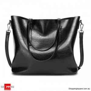 Women's Vintage Oil Leather Tote Handbag Shoulder Crossbody Bag with Big Large Capacity for Shopping Black Colour