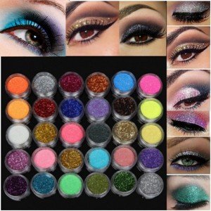 30 Colours Glitter Spangle Eye Shadow Powder Pigment Makeup Cosmetics Beauty Kit Set