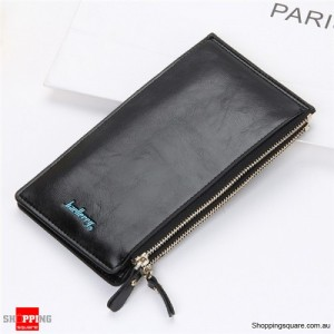 Women's Waxy Ultrathin Leather Long Purse Wallet Card Holder for Phone Coin Bags Black Colour