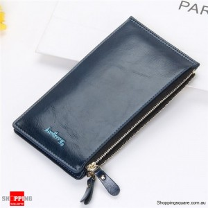 Women's Waxy Ultrathin Leather Long Purse Wallet Card Holder for Phone Coin Bags Rose Blue Colour