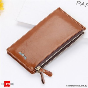 Women's Waxy Ultrathin Leather Long Purse Wallet Card Holder for Phone Coin Bags Brown Colour