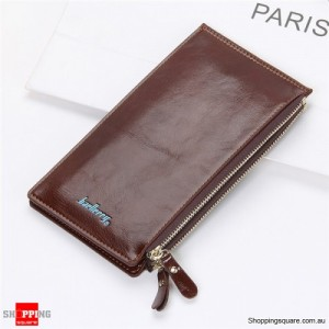 Women's Waxy Ultrathin Leather Long Purse Wallet Card Holder for Phone Coin Bags Coffee Colour