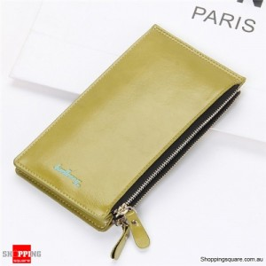 Women's Waxy Ultrathin Leather Long Purse Wallet Card Holder for Phone Coin Bags Green Colour