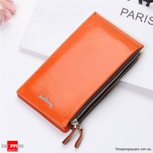 Women's Waxy Ultrathin Leather Long Purse Wallet Card Holder for Phone Coin Bag Orange Colour