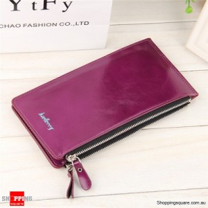 Women's Waxy Ultrathin Leather Long Purse Wallet Card Holder for Phone Coin Bags Purple Colour