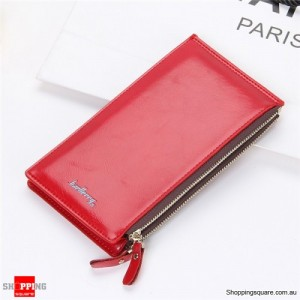 Women's Waxy Ultrathin Leather Long Purse Wallet Card Holder for Phone Coin Bags Red Colour