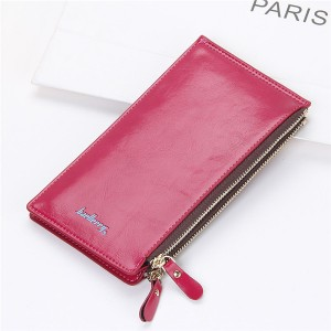 Women's Waxy Ultrathin Leather Long Purse Wallet Card Holder for Phone Coin Bags Rose Red Colour