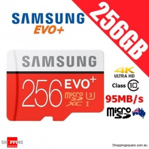 Samsung 256GB EVO Plus micro SD SDXC Card Class 10 95MB/s UHS-I U3 4K Ultra HD