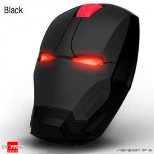 Iron Man 4D 1600DPI Adjustable LED Wireless USB Gaming Mice Mouse for Desktop Laptop Computer Black Colour