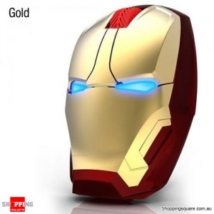 Iron Man 4D 1600DPI Adjustable LED Wireless USB Gaming Mice Mouse for Desktop Laptop Computer Gold Colour