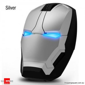 Iron Man 4D 1600DPI Adjustable LED Wireless USB Gaming Mice Mouse for Desktop Laptop Computer Silver Colour