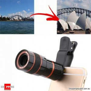 8X Zoom Clip On External Camera Telephoto Telescope Lens for Smart iPhone Android Black Colour