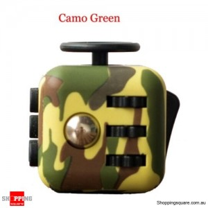 Fidget Click Cube 6-sided Dice Toy for Anxiety Stress Relief for Adults Kids Green Camo Colour