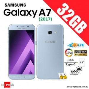 Samsung Galaxy A7 32GB (2017) Dual Sim A720FD 4G LTE  Unlocked Smart Phone Blue Mist
