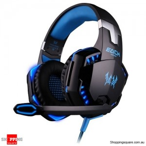 EACH G2000 Pro LED Stereo 3.5mm PC Gaming Headphone Headset w/ Microphone Blue & Black Colour
