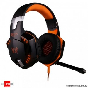 EACH G2000 Pro LED Stereo 3.5mm PC Gaming Headphone Headset w/ Microphone Orange & Black Colour