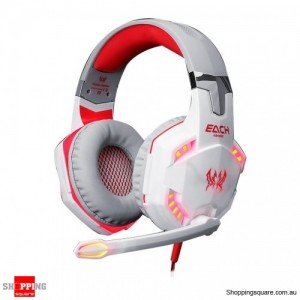 EACH G2000 Pro LED Stereo 3.5mm PC Gaming Headphone Headset w/ Microphone Red & White Colour