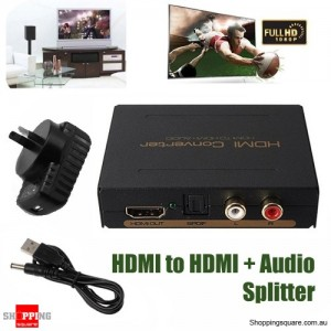HDMI  to HDMI & Optical SPDIF & RCA L/R Audio Extractor Converter Adapter Splitter for Conference School Presentation