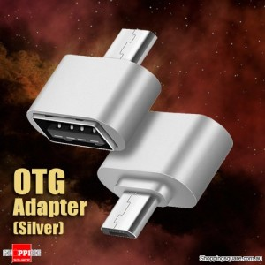 USB Female to Micro USB Male OTG Cable Adapter for Samsung Android Phone Tablet Silver Colour