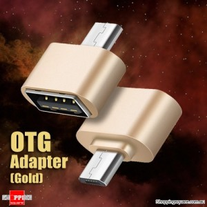 USB Female to Micro USB Male OTG Cable Adapter for Samsung Android Phone Tablet Gold Colour