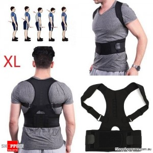 Adjustable Magnetic Posture Corrector Belt for Lumbar Lower Back Support Shoulder Brace Size XL