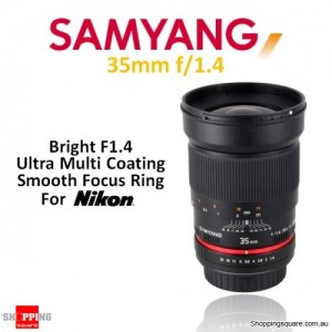 Samyang 35mm f/1.4 AS UMC Digital Camera Lens Black (For Nikon AE)