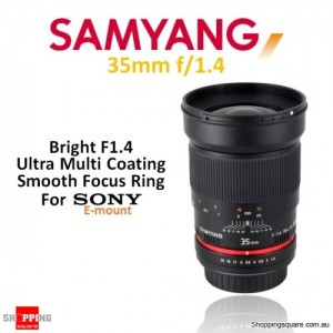 Samyang 35mm f/1.4 AS UMC Digital Camera Lens Black (For Sony E-Mount)