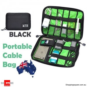 Portable Travel Organiser Bag for Cable Electronic Accessories USB Drive Hard Disk Black Colour
