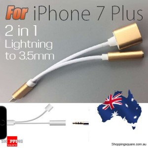 2in1 3.5mm AUX to Lightning Headphone Jack Adapter Charger Cable for iPhone 7 / 7 Plus Gold Colour