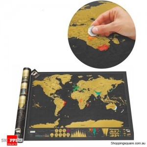Black Luxury Scratch World Map with Cylinder Packing for Home Decor Gift Geography Education