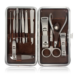 12pcs Nail Care Manicure Set Kit with Clipper Pedicure Scissor Tweezer Bag