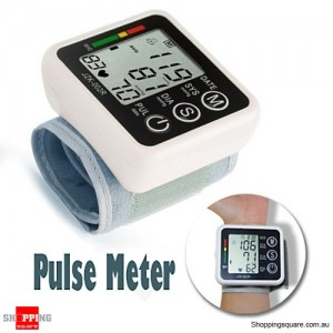 Digital LCD Wrist Blood Pressure Heart Rate Beat Pulse Meter Monitor Machine for Clinic Home
