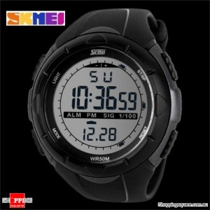 SKMEI 1025 Unisex Waterproof Digital Military Army Watch Wristwatch for Sports Shock Large Titanium Colour