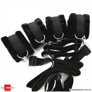 Thicken Fleece Bondage Bed Cuffs Collar Sex Adult Toys For Couples Black Colour