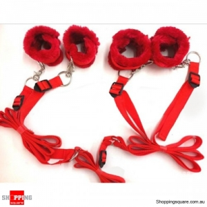 Thicken Fleece Bondage Bed Cuffs Collar Sex Adult Toys For Couples Red Colour