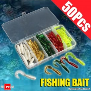 50Pcs of Soft Fishy Worms Tail Maggots Smell Multicoloured Bait Lure with Fishing Box