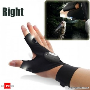 Multifunctional EDC Fishing Fingerless Glove with LED Flashlight for  Survival Outdoor Rescue Repair- Right Hand